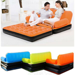 Inflatable Pull Out Sofa Couch & Full Double Air Bed Mattress Sleeper Flocked