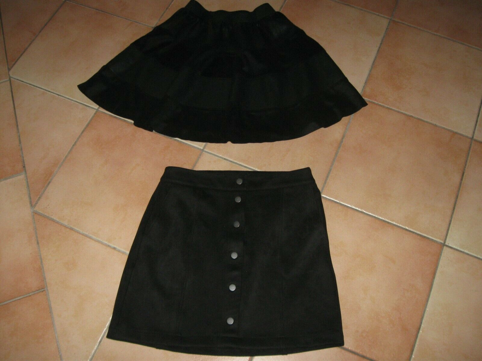 2 x Rock gefüttert Herbst Vero Moda und Only S 36 Knöpfe Taschen schwarz