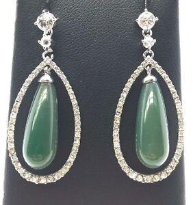 2 CZ Sterling Silver Briolette Dangle Charm Earring Beads Emerald Green #98361