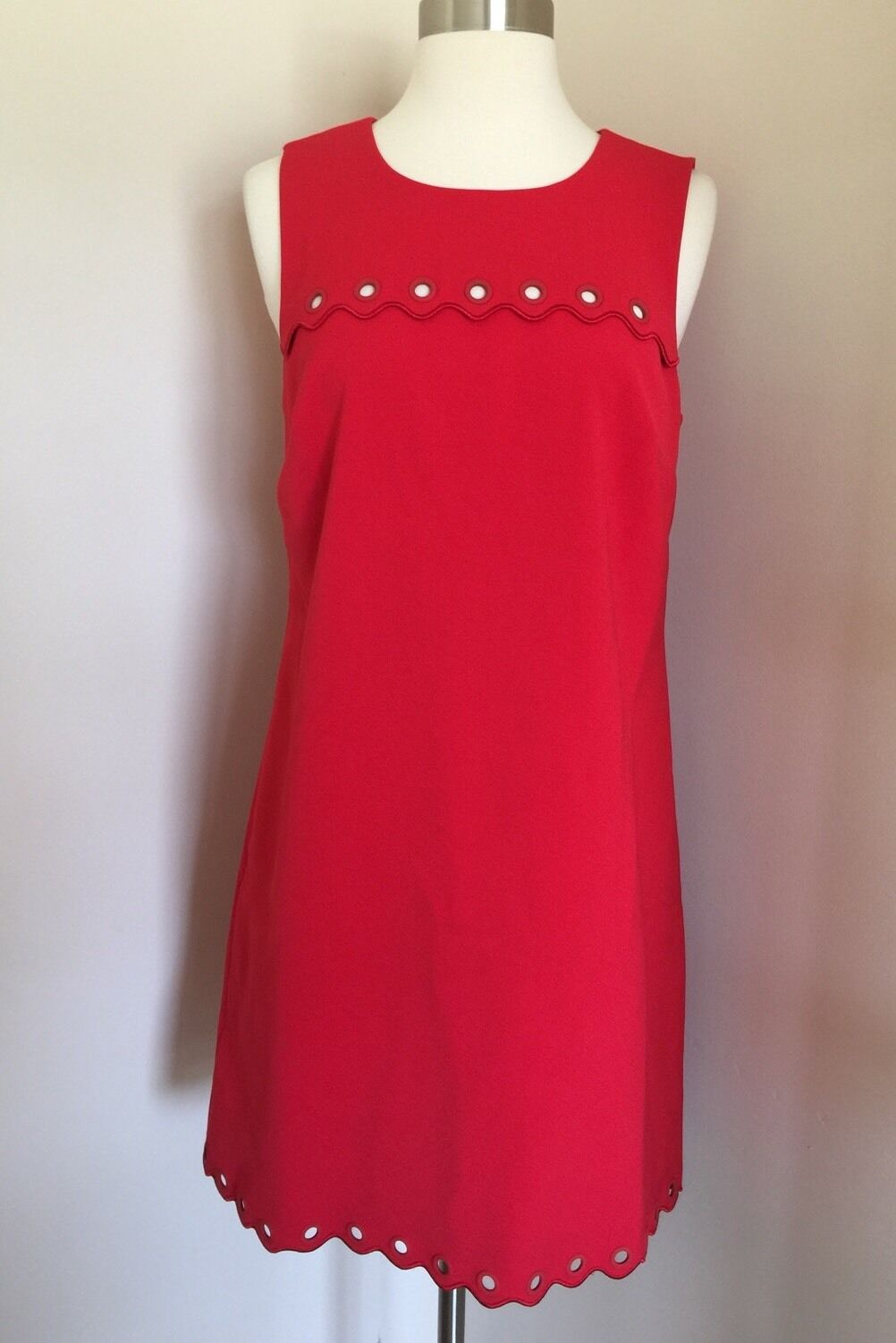 JCrew Electric rot Scalloped Jumper Dress with Grommets 6 Nwt E8902