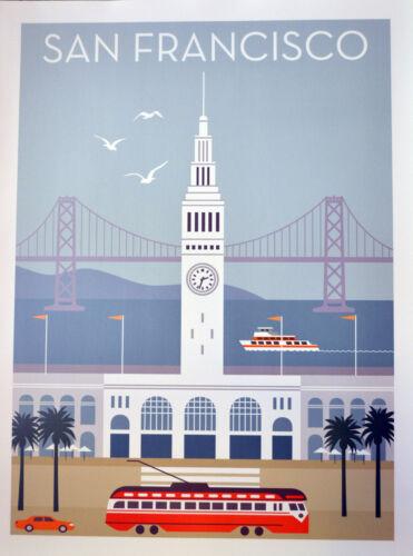San Francisco vintage style travel poster Ferry Building Streetcar Bay Bridge