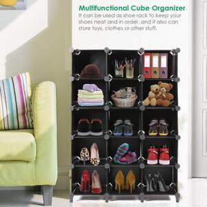 Charmant Details About 15 Cube Black Modular Storage Rack Shoe Purse Organizer Tower Shelf  Cubby Holes