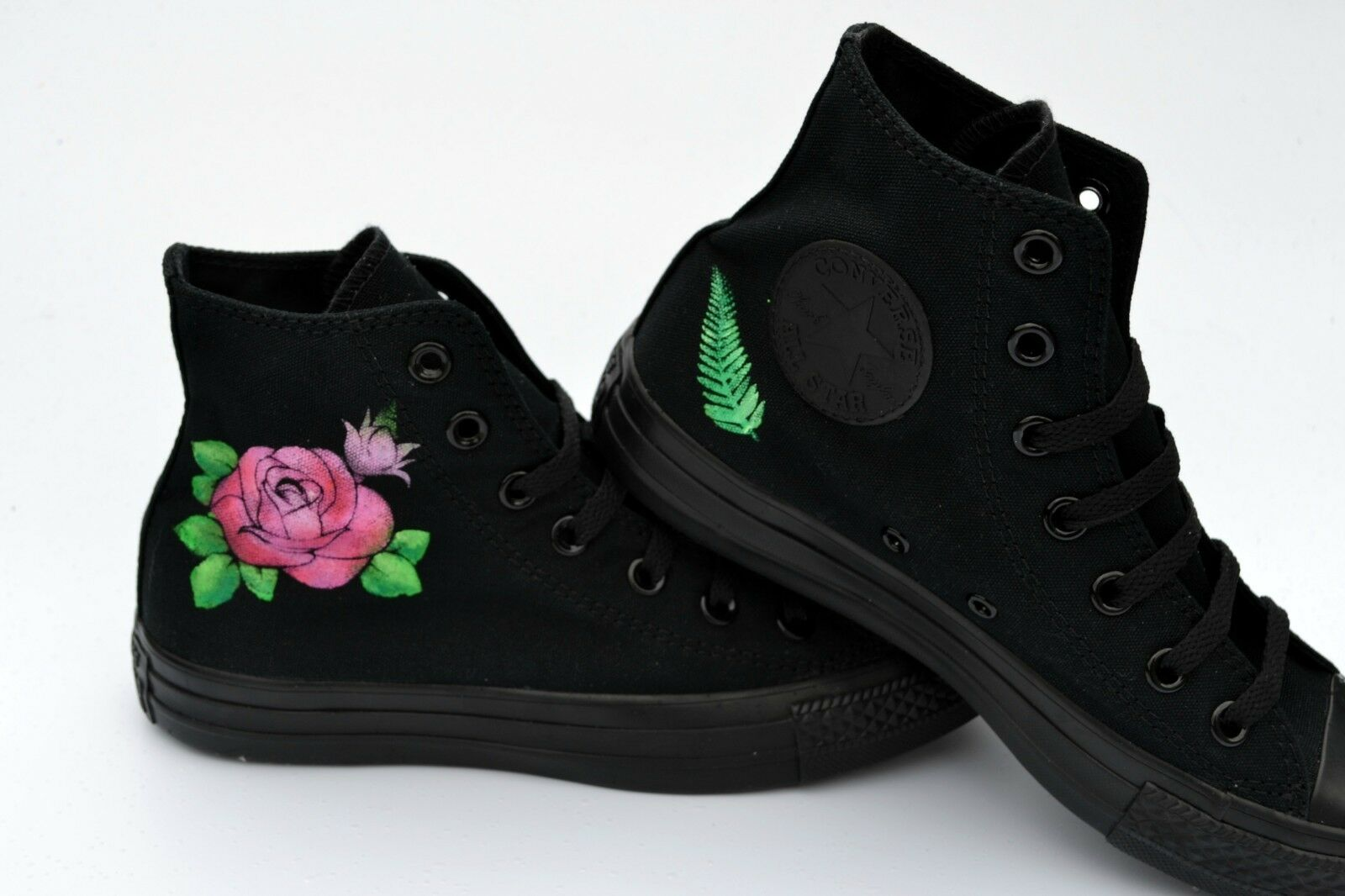90f8cd6a3793 ... Rose Tattoo Style Converse - Hand Hand Hand Painted to Order 47917a ...