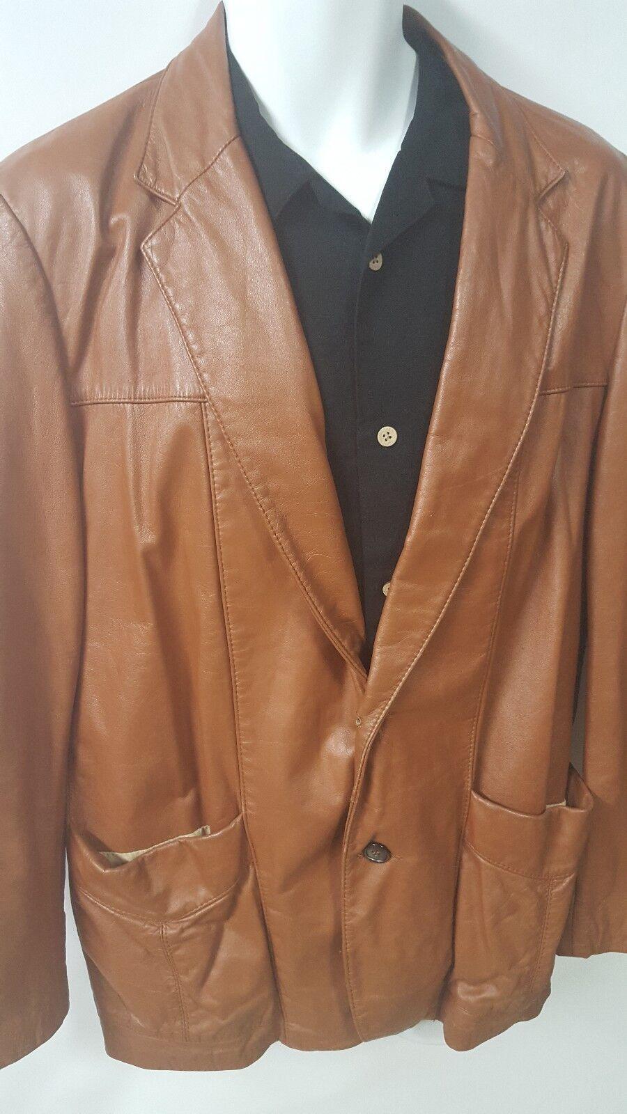SILTON  Brown Leather 70s  Blazer Sport Coat Siz… - image 3