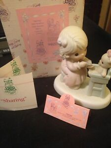 "Precious Moments Members Only Figurine ""Sharing"" #PM942  Mark: Trumpet -1994. H2"