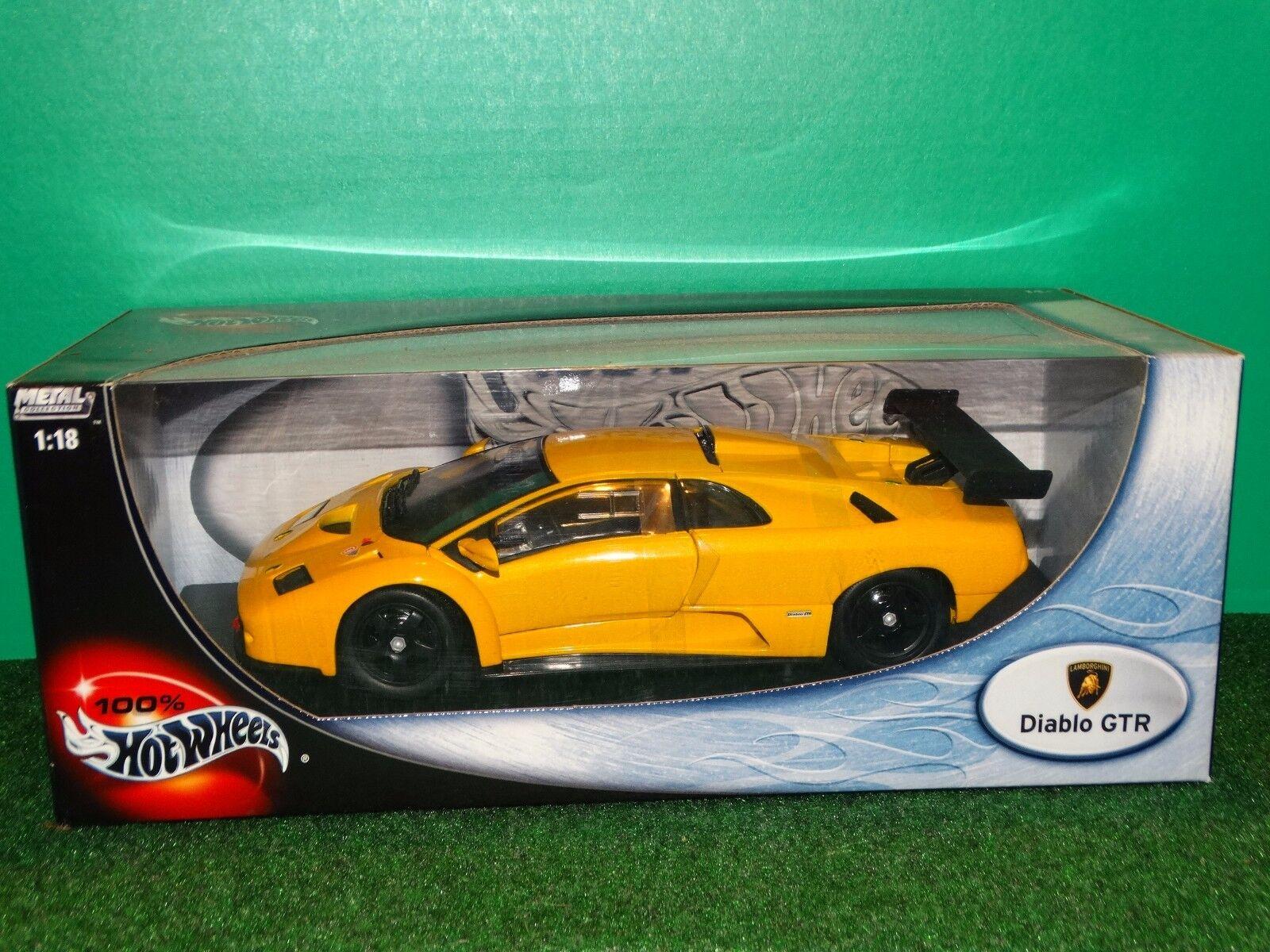 HOT WHEELS Lamborghini Diablo GTR 1 18 Scale Diecast jaune 2002 Voiture Modèle 53835
