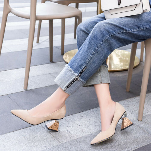 Women Pull On Pointed Toes Slip On Block Heel Dress Formal Party Shoe Chic Pumps