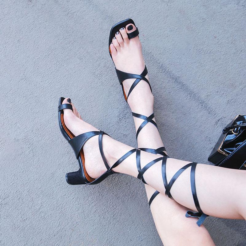 Sexy Fesselriemen Sandalen Damenschuhe Sommer Zehentrenner Europa Gladiator schuhe