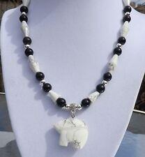 "16"" Black Onyx White Turquoise Necklace with Zuni style Bear Pendant"