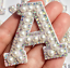 miniature 12 - Pearl Letter Patches Rhinestone Sparkle Alphabet Embroidery Sew on Iron on A-Z