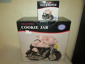 NIB Clay Art Biker Hogs Cookie Jar & salt and pepper Pigs Riding a Motorcycle