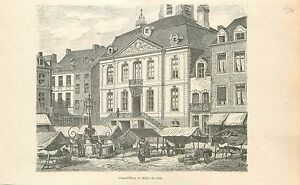 Grand-039-Place-amp-Hotel-de-Ville-Stadhuis-City-Hall-GRAVURE-ANTIQUE-OLD-PRINT-1880