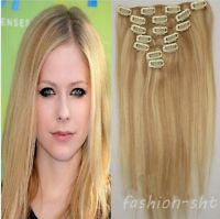 #18/613 Full Head Clip In Hair 100% Remy Human Hair Extensions 15''18''20''22''