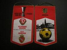 Wimpel 240 Dynamo Dresden - KSV Waregem EC DDR Oberliga 1988