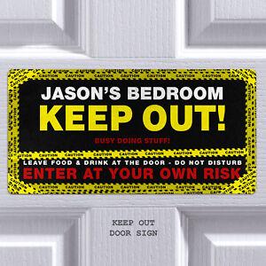 Bedroom Door Sign Keep Out Personalised Plaque Custom Sign Boys Girls Room Ebay