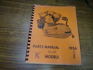 1952 To 1956 Harley Davidson K Models Motorcycle Parts Manual Orange Ebay