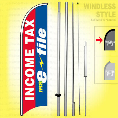 Income Tax E-File rb-h Windless Feather Swooper Flag Banner Sign Kit