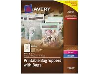 Printable Bag Toppers With Bags, 1-3/4 X 5, White, 40/pack