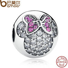 Pretty Mouse Authentic S925 Sterling Silver Ball Charm Pave Clip Fit Bracelets