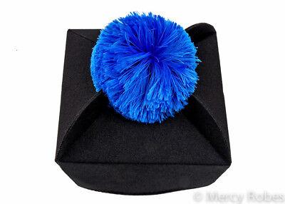 Priest Hat Catholic Vestment 3-Wing Clergy Biretta Black//Purple Pom Pom