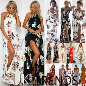 UK-Womens-Holiday-Sleeveless-Ladies-Maxi-Long-Summer-Print-Beach-Dress-Size-6-14