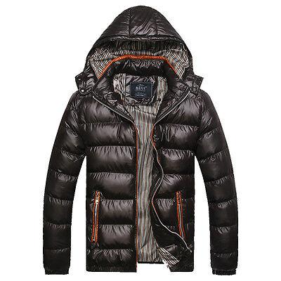 New Mens Lightweight Hooded Winter Parka Thicken Windbreaker Coat Outwear Jacket