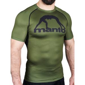 Manto Logo Short Sleeve Rash Guard - Olive Green - MMA Training GYM Sparring