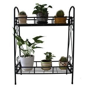 Image Is Loading 2 TIER Metal Shelves Indoor Plant Stand Display