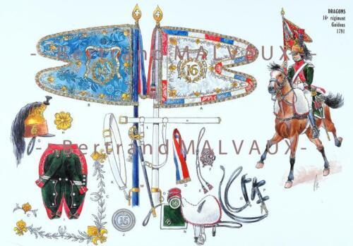 DRAGONS 16e REGIMENT GUIDONS 1791. LE PLUMET PLANCHE 252