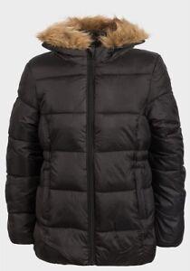 7e1c1ff70321 Girls Kids Black Parka School Jacket Hooded Coat Winter Age 7 8 9 10 ...