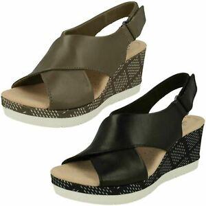 73af02e17 Ladies Clarks Cammy Pearl Black Or Olive Leather Wedge Heel Sandals ...