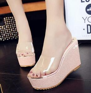 d138c1a67 Image is loading Womens-Slippers-Sandals-Shoes-Wedge-High-Heels-Transparent-