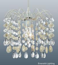 BARCELONA CREAM CRYSTAL WATERFALL CASCADE CHANDELIER PENDANT LIGHT SHADE LAMP
