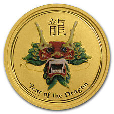 2012 1/10 oz Gold Lunar Year of the Dragon Coin - Colorized