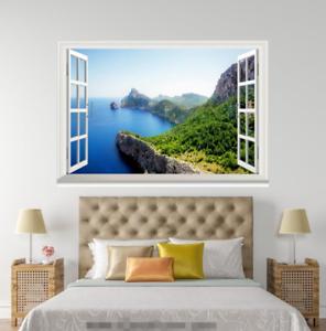 3D bluee River Mount Sky 0415 Open Windows WallPaper Murals Wall Print AJ Jenny