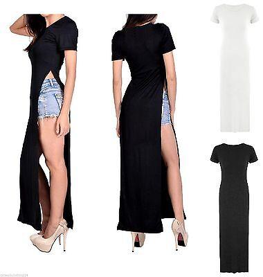 Women Ladies Side Slit Casual Sexy Stylish Maxi Long Split T-shirt Dress 8-14