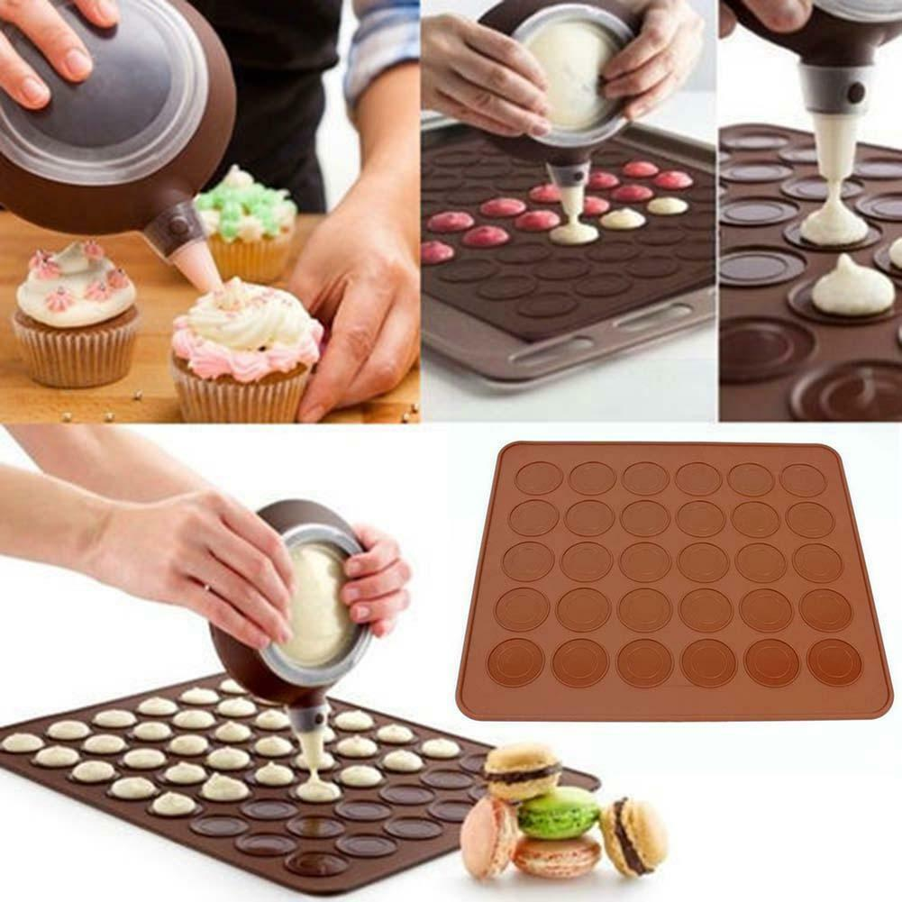 new 30 cavity silicone pastry cake macaron macaroon oven baking sheet mat mould. Black Bedroom Furniture Sets. Home Design Ideas