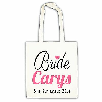 Personalised wedding favour hen bride party cotton keepsake tote gift bag
