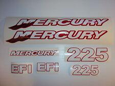 Mercury 225  EFI Outboard decals  Custom Red, white chrome tails Marine Vinyl