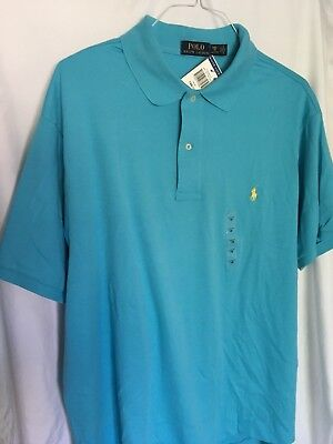Ralph Mens SS Polo Solid Light Blue with Lt Green Pony Shirt XXL NWT