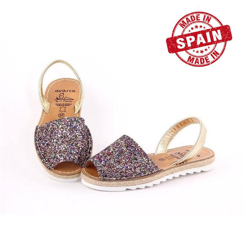 Avarcas menorquinische cáñamo sandalias con plataforma para damas multiColor brillo