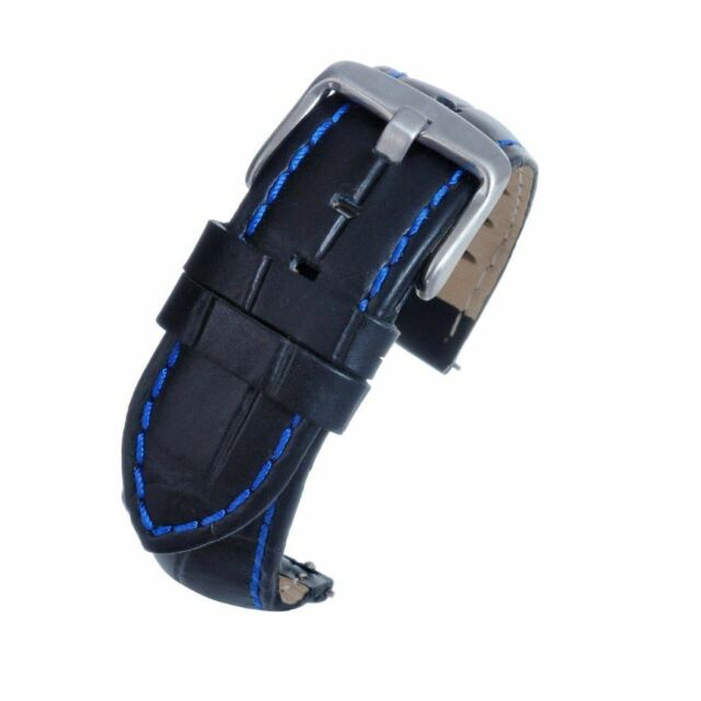 36e42a9bf 18mm Black Padded Leather Watch Strap Band Quick Release Spring Bar Blue  Stitch