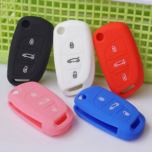 Silicone-car-key-fob-cover-case-skin-for-Citroen-DS3-DS4-DS5-DS6-flip-folding
