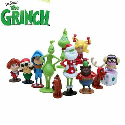 12PC//set Movie How The Grinch Stole PVC Figure Toy Kids BirthDay Cake Toppers