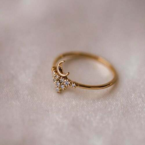 Details about  /0.50Ct Round Cut Diamond Half Moon Women/'s Engagement Ring 14K Rose Gold Finish