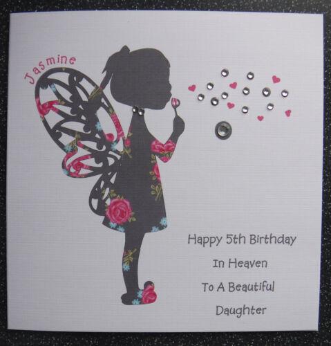 HANDMADE PERSONALISED BIRTHDAY IN HEAVEN  CARD,FAIRY ANGEL