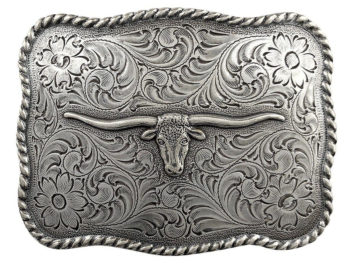 Longhorn Steer Trophy Sterling Silver Plated Western Belt Buckle