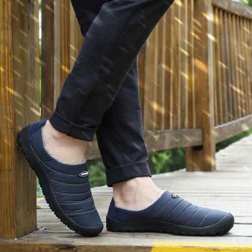 Mens Winter Indoor Slippers House Fur Outdoor Warm Waterproof Cozy Casual Shoes