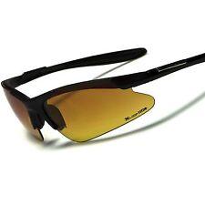 Matte Black Day Night Driving Amber HD Lens Mens Semi Rimless Sport Sunglasses