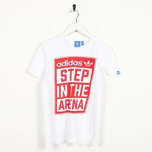 Vintage-ADIDAS-ORIGINALS-Big-Graphic-Logo-T-Shirt-Tee-White-XS